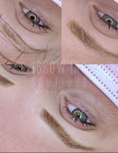 Ombré Brows before after and during